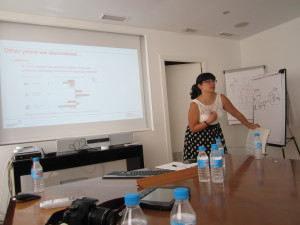 Olalla Castro giving us her presentation on Meaningful Brands.