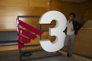 Just posing  with TV3's logo.